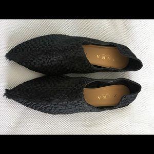 New ZARA Trafaluc Black Flats Shoes Women's Sz 38